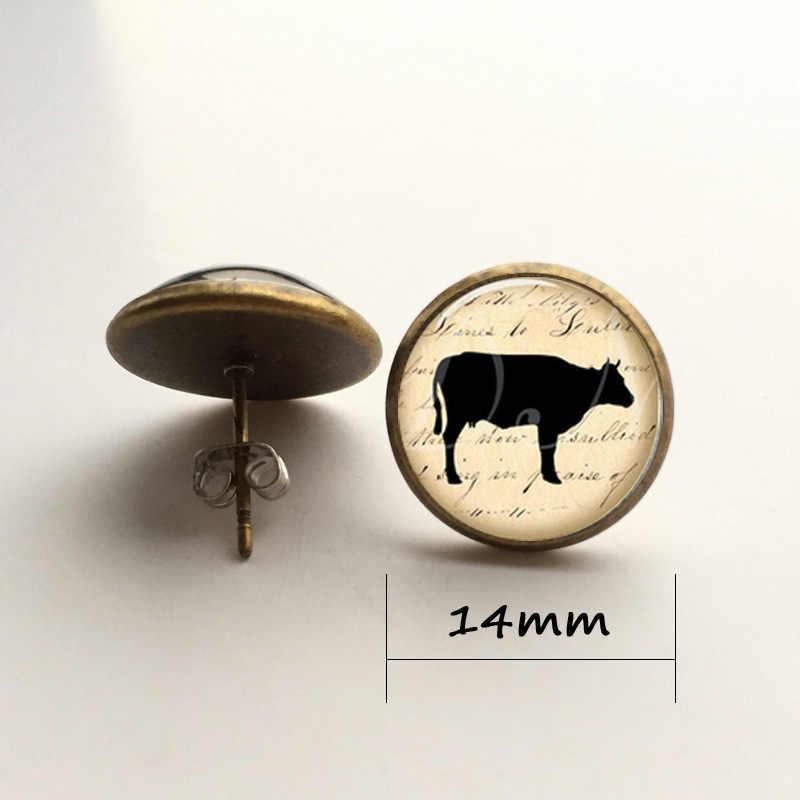 Bò bông tai, bò on Vintage Giấy bông tai hoa tai Glass Ảnh Victoria bông tai món quà