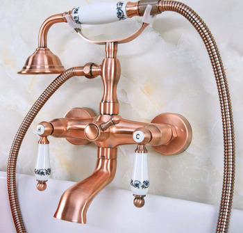 Antique Red Copper Brass Wall Mounted Bathroom Clawfoot Tub Faucet Mixer Tap Telephone Shower Head Dual Ceramic Handles ana329 wall mounted polished chrome round rain shower faucet tub mixer tap dual cross handles hand held shower head acy351