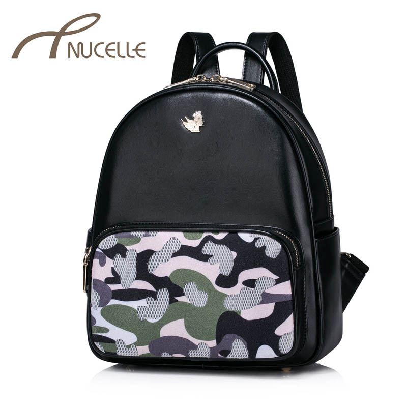 NUCELLE Women PU Leather Backpack Fashion Camouflage Female Daily Leisure Shoulder Bags Ladies Hollow Out Travel Rucksack NZ4961