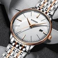 Schweiz BINGER Ultradünne Automatische Uhren Männer Mode Skeleton uhr Saphirglas Kalender Leucht Mechanische Uhr männer-in Mechanische Uhren aus Uhren bei
