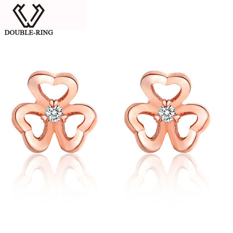 DOUBLE-R 0.04ct Genuine Diamond Pure Real 18k Gold Earrings For Girls 18k Rose Gold Stud Earrings 18k rose gold plated rhinestone awesome swan stud earrings golden pair