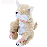 2018 Spring Autumn Newborn Baby Romper Long Sleeve Flannel Baby Jumpsuit Cartoon Akita Dog Toddler Clothes for 0 30M Boy Girl