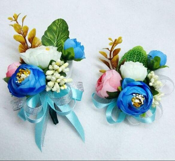Acheter 2015 Nouveau blanc bleu marié mariée poignet corsage de mariage fleurs boutonnière 6 pcs/lot de wrist corsage wedding fiable fournisseurs