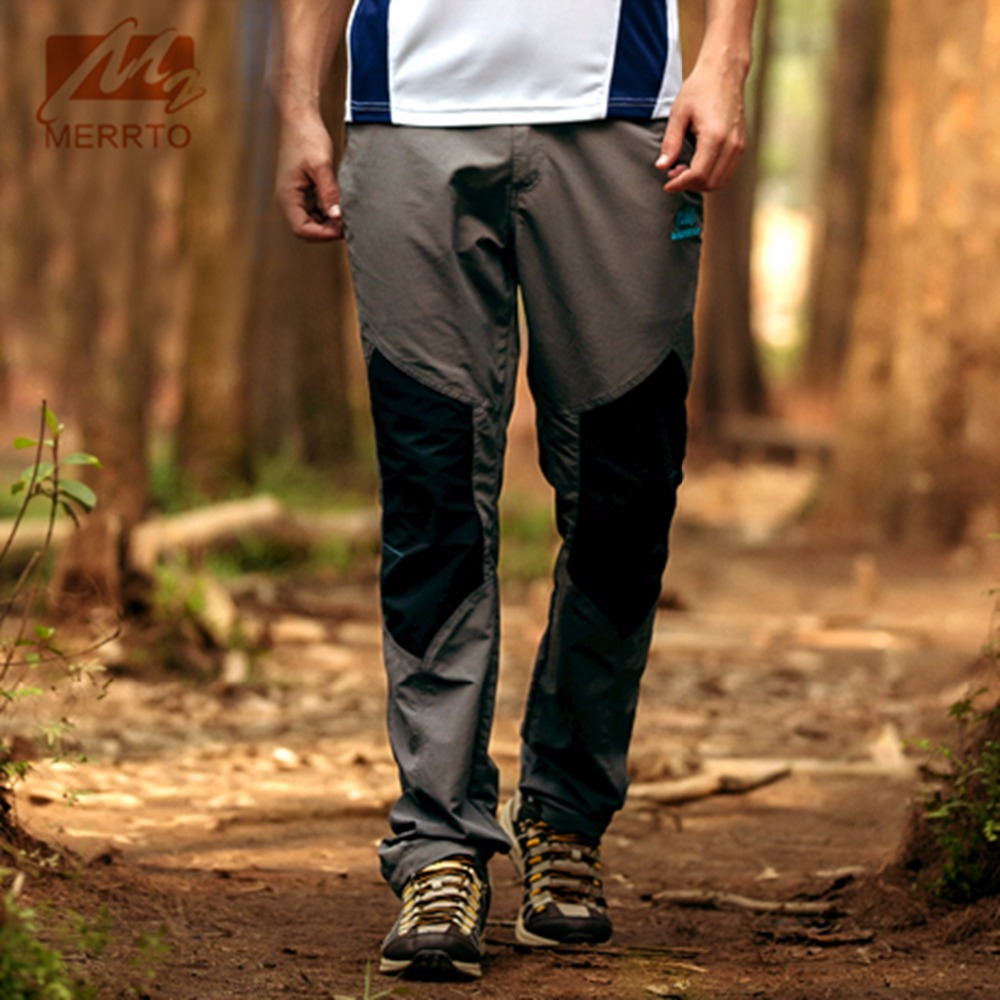 2018 Merrto Mens Jogging Pants Outdoor Sports Pants Quick Dry Hiking Pants Color Grey Khaki Green For Men Free Shipping MT19035