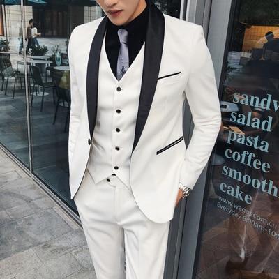 White Suit Men for Wedding Slim Fit Terno Completo 3 Pieces Men Formal Suits Tuxedo Black Ternos Costume Homme Heren Pakken 2019(China)