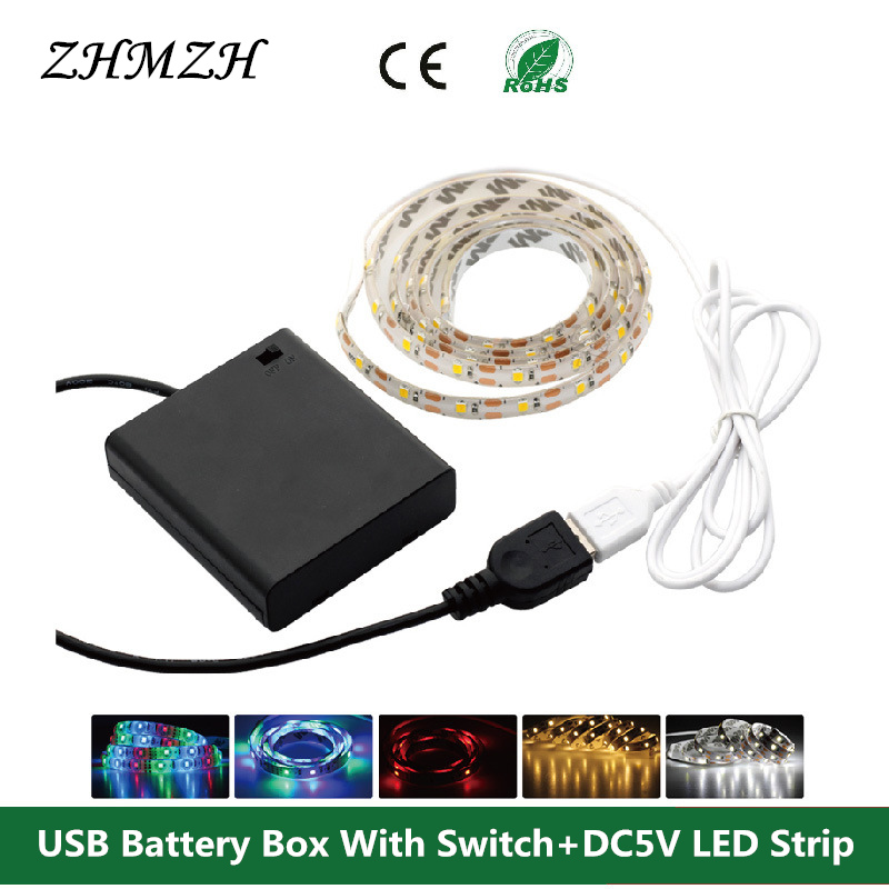 1 Set USB Battery Box With Switch + DC5V LED Strip 50cm 1m 2m SMD 3528 For TV Background Lighting Waterproof or Non waterproof dc5v portable mini aa battery holder storage box case usb power supply battery box for 5050 3528 2835 led strip light
