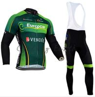 Dark Green 2015 Green Winter Clothes Cycling Jersey Bib Pants Bicycle Thermal Fleece Wear Set Breathable