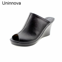 Women's S Genuine Leather High Heel Platform Wedge Mules Peep Toe Pumps For Summer Handmade Black Uninnova Fashion WSL041