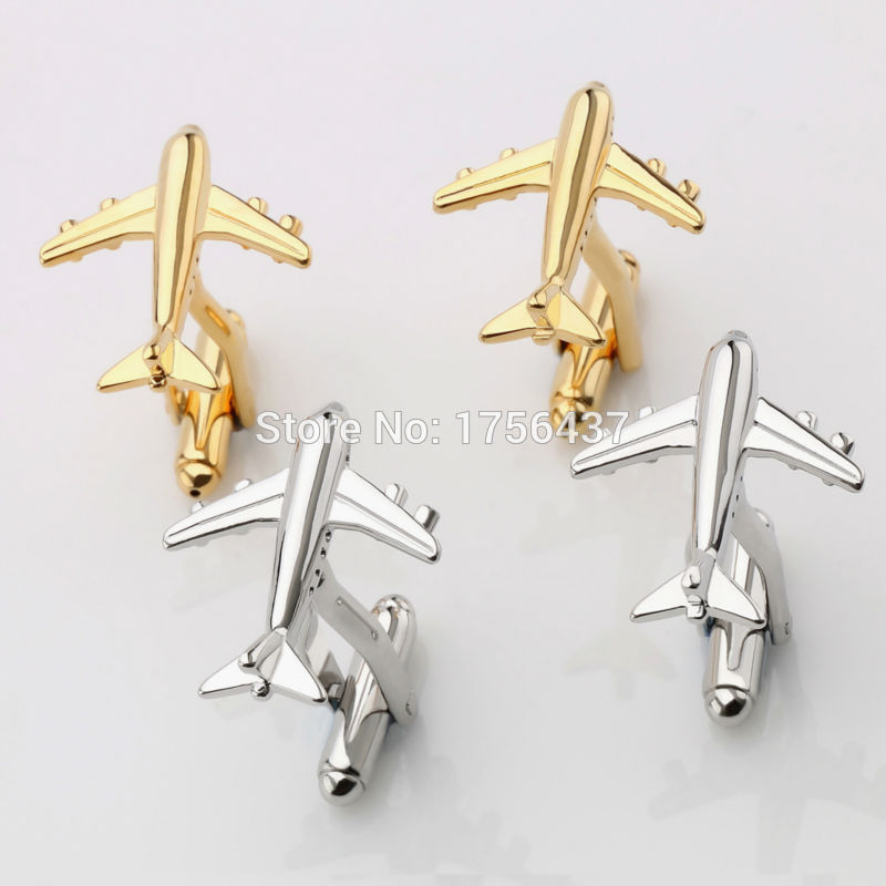 Lepton Fashion Plane Stuffing Cufflinks Mens Hot Sale Real Tie Clip AirPlane Cuff ბმულები Plane Design Cufflinks მამაკაცის საჩუქრები