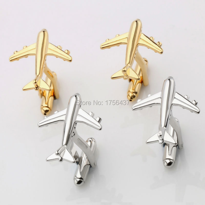 Lepton Fashion Plane Styling Cufflinks For Mens Hot Sale Real Tie Clip AirPlane Cuff links Plane Design Cufflinks for Men Gifts image