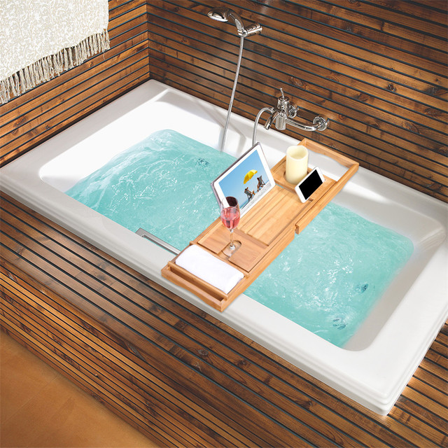 LANGRIA 100% Natural Bamboo Bathtub Caddy Tray Organizer Extendable ...