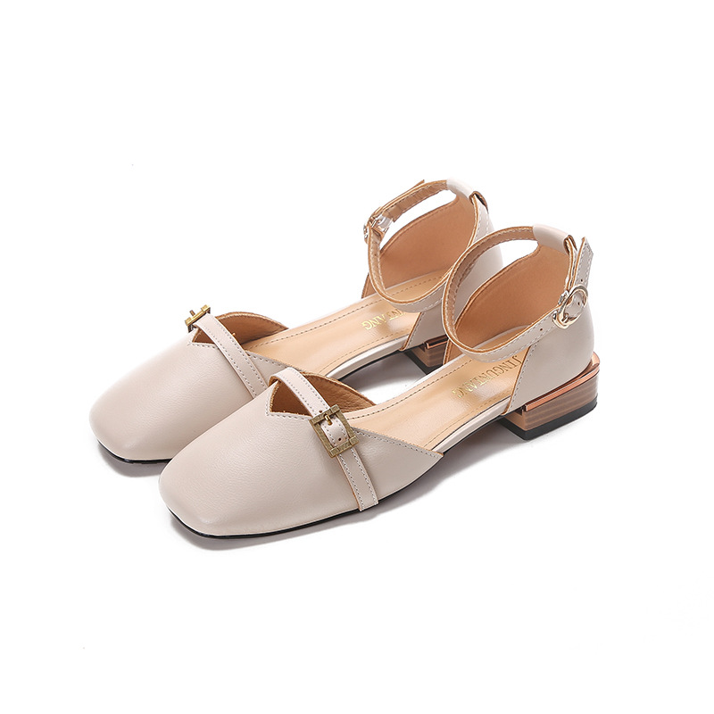 Large Size Women 39 s Shoes 34 43 Summer Bow One word Buckle Sandals Lovely Mature Square Root Of A Variety Styles Vintage heels in Middle Heels from Shoes