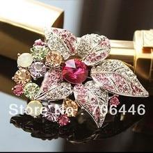 Родий посеребренный горячий Pin горный хрусталь лист и цветок дизайн брошь