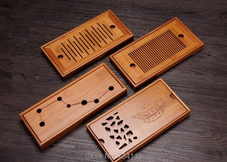 Thé Tasse plateau Exquis Type de Stockage de L'eau Sec Bambou Teaboard Taiwan Bambou Plateau de Thé Kung Fu Thé Mini Trompette Thé plateau 27*14 cm