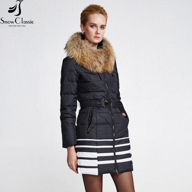 Зимние зимние куртки Snowclassic 2018 Резиновые меховые воротнички для женщин с длинными рукавами Женские зимние куртки с капюшоном Куртка женская ветровка Европейская синхронная мода Стильная теплота