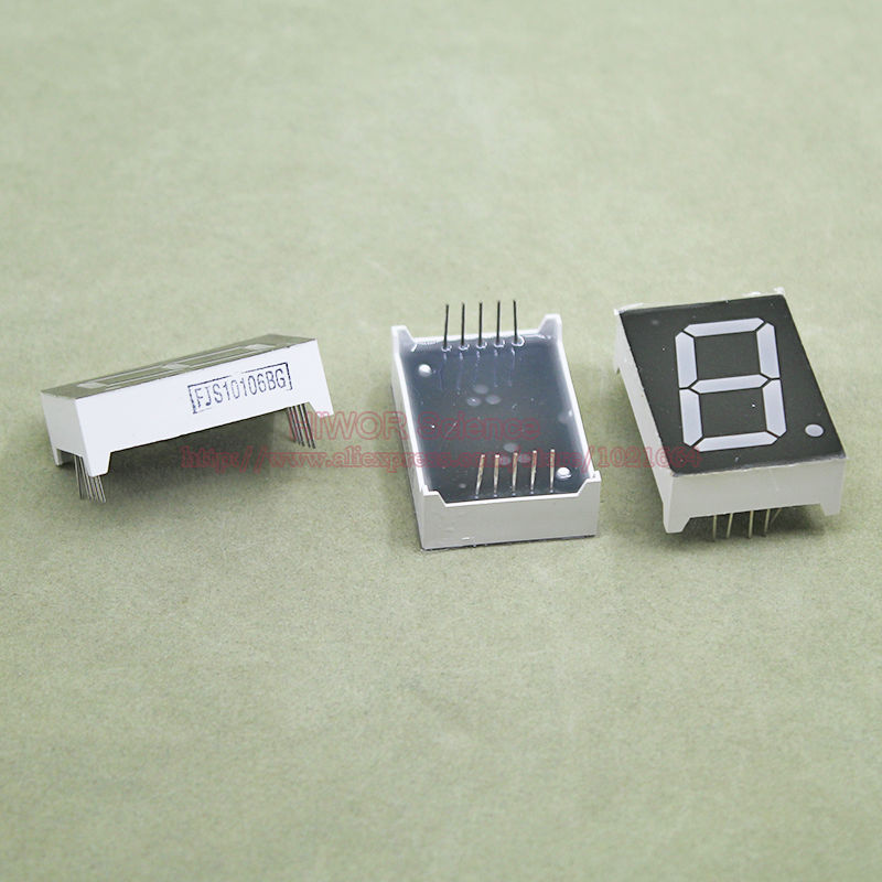 (10pcs/lot) 10 Pins 10011BG 1 Inch 1 Bit Digit 7 Segment Green LED Display Share Common Anode Digital Display