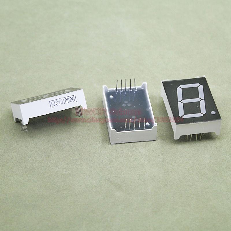 (10pcs/lot) 10 Pins 10011BG 1 Inch 1 Bit Digit 7 Segment Green LED Display Share Common Anode Digital Display