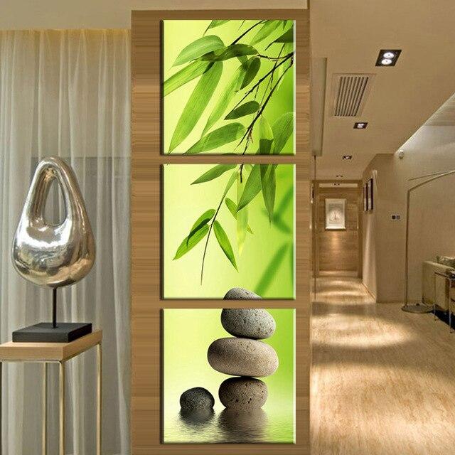 € 3.72 48% de réduction|3 pièces/ensemble Artiste Toile Nature Morte  peinture Bambou et Pierre formes verticales Prints Mur Photos pour Salon ...