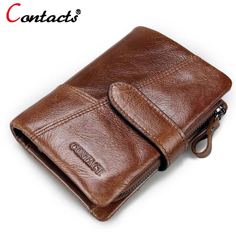 CONTACT'S Men wallet Genuine Leather Wallet Men Luxury Dollar Price Vintage Male clutch Purse card holder Coin money Bag new