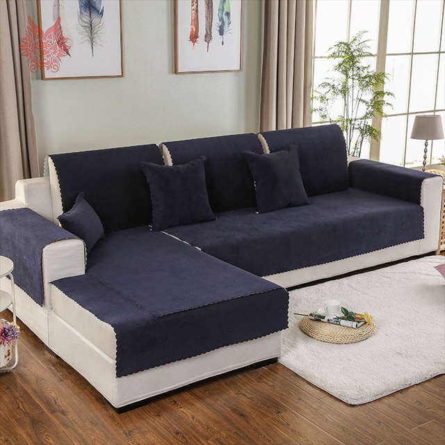 Navy Blue Green Waterproof Sofa Cover Silica Gel Anti Slip Covers Fundas De  Sofa Sectional