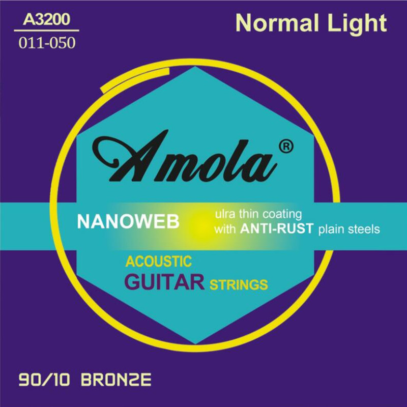 Amola 011-050 A3200 Acoustic Guitar Strings 90/10 Bronze Strings For Acoustic Guitar Accessories Guitar Parts Wholesale