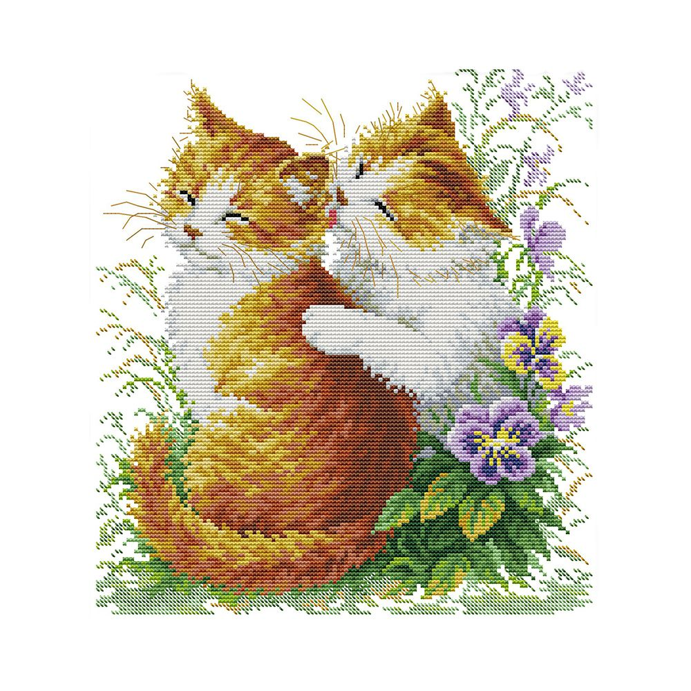 DIY hand-knit printing cross stitch suit embroidery suit 11CT two small cat cat kiss pattern cross stitch 42 * 44 cm home deco
