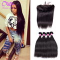 Ms Cat Ear to Ear Lace Frontal Closure With Bundles Brazilian Straight Hair Weave With Closure Mink 8A Lace Frontal With Bundles