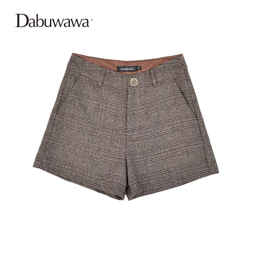 Dabuwawa Spring Grey Shorts Women Plaid Vintage Shorts For Office Ladies Straight Shorts With Buttons Feminino