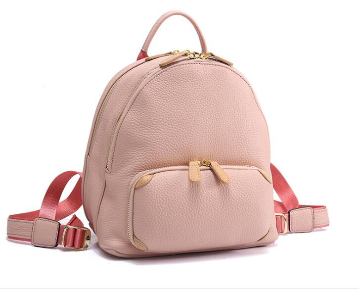 high quality women small genuine leather cow skin soft backpack school bag for women