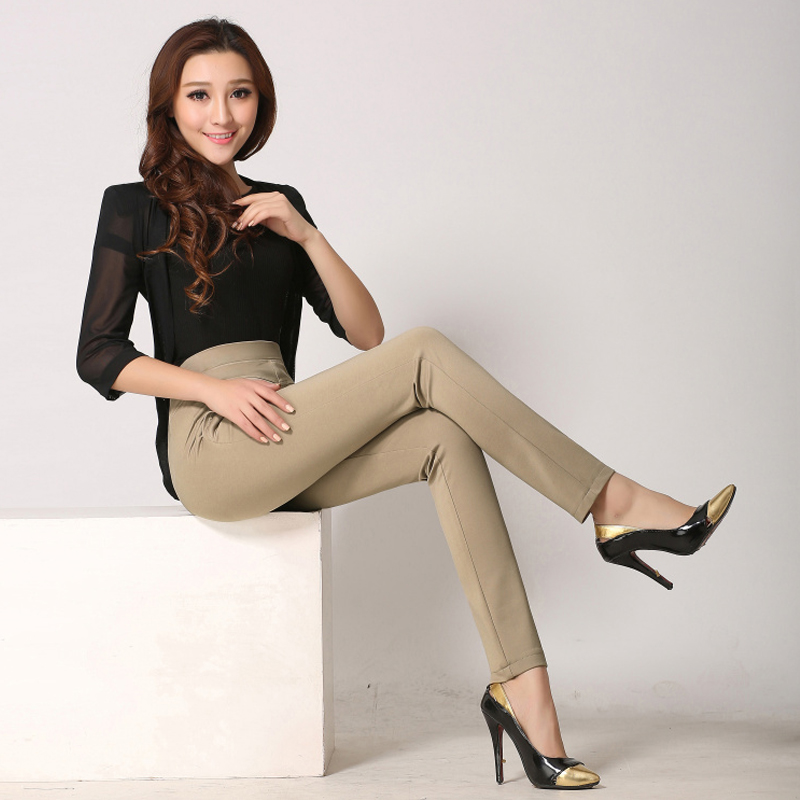 New Arrival Women Pants Plus Size High Stretch Ladies Pencil Pants Black Blue Beige Casual Trousers High Waist Skinny Long Pants