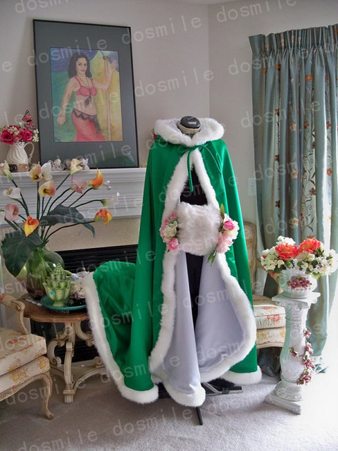 Customise Hooded with Faux Fur Trim Long for Bride Winter Wedding Cloak Cape with fur trim Handmade Christmas Satin Bridal cape