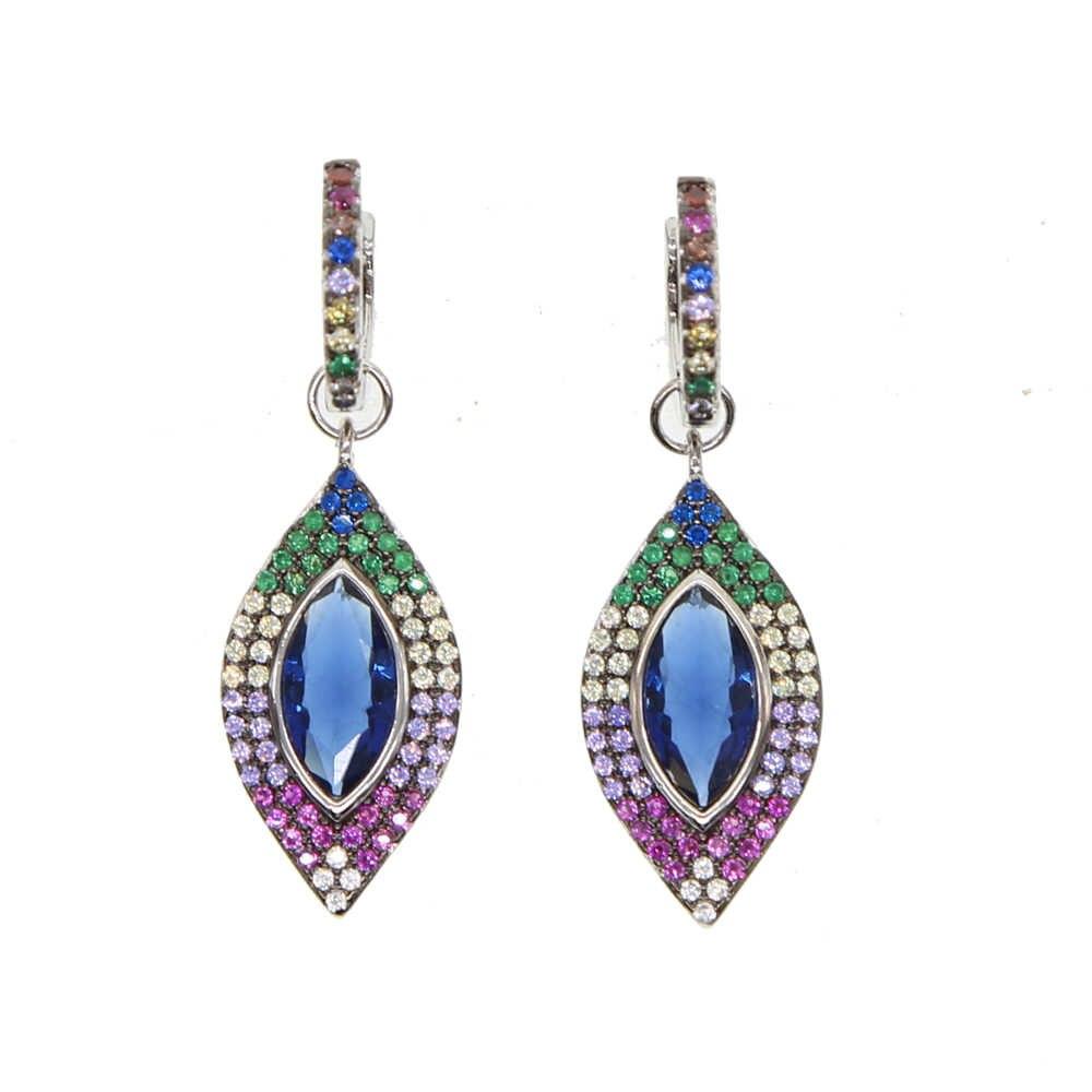 หินสีสันสดใส Blue Eye ตุรกี Evil Eye Charm dangle Eye Rainbow Stone ฤดูร้อนผู้หญิงของขวัญแฟชั่นสีต่างหู
