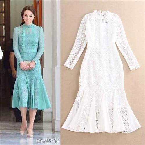 275e6e0e1ec9 2016 New British Designer Dress Summer Women Vintage Solid Light Green All White  Long Sleeve Lace Fishtail Midi Dress Kate