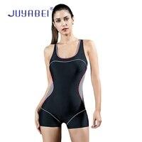 JUYABEI Women One piece Swimwear Sport Beach Swim Surfing Wear Wetsuit Cross Cut Out Back Short Swimsuit Bathing Suit Plus Size