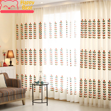 ФОТО customized embroidered floral tulle curtain modern pastoral polyester decorative window curtains for living room custom curtain