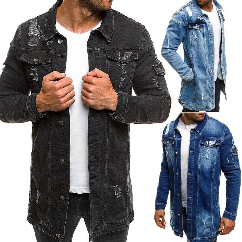 Hommes Cowboy manteau de haute qualité automne Style mendiant trou Denim veste lâche à manches fines Cowboy veste Plus Sz XXXL