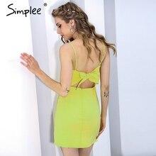 Simplee Sexy strap backless beach summer dress Bow casual dress women sundress Slim fit bodycon white short dress vestidos