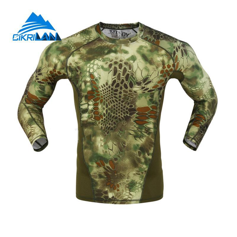 Prix pour Mens Camo Manches Longues À Séchage Rapide Pêche Tactique T-shirt Hommes Combat de Course Collants Extérieure Randonnée T Shirt Ciclismo Chasse Chemise