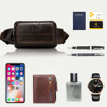 WESTAL Waist Bag Men Genuine Leather Hip/Bum Bags Money Belt Pouch Bag for Phone Multifunction Travel Small Male Fanny Pack 8966