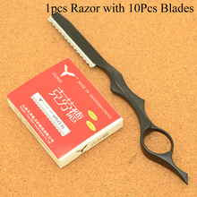 Meisha 1Pcs Sharp Hair Thinning Razors 10pcs Blades Steel 440C Removal Cut Knife Hairdressing Tools Home DIY HC0008