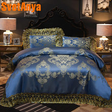 Svetanya Lace Jacquard Bedding Sets Queen King Size Artificial Silk Cotton Fabric quilted Bedcover+Pillowcases+Duvet Cover(China)