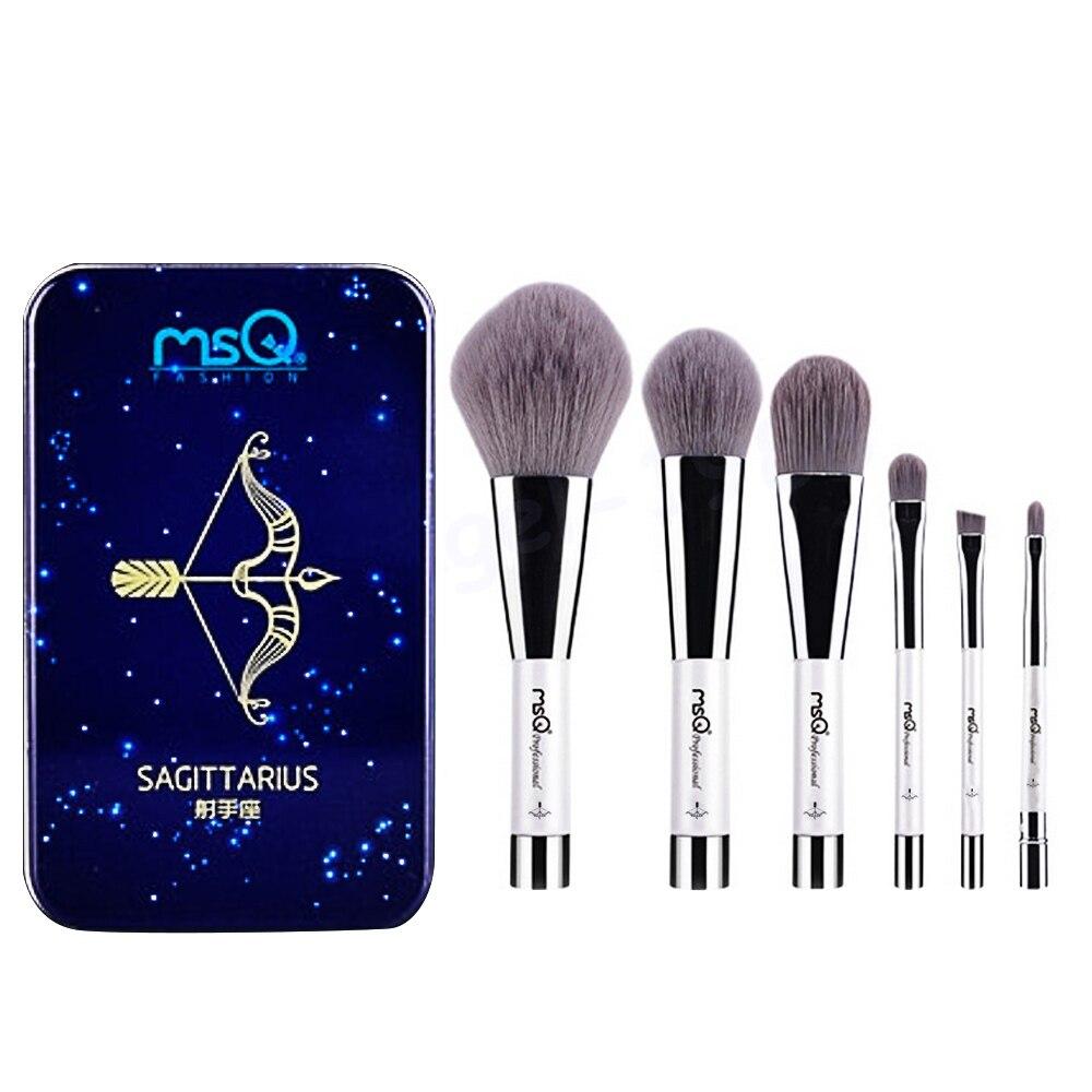 6 Pcs Makeup Kosmetik Serat Arang Bambu Brush Blush Powder Foundation Eye Shadow Alis Bibir Alis Mata Kit dengan Besi Case Sagitarius-Internasional