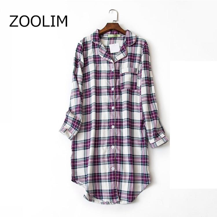 Autumn   Sleepshirts   Women   Nightgowns   Nightshirts 100% Long Sleeve Cotton Plus Size M-XXL Night Shirt Sleeping Striped Shirt