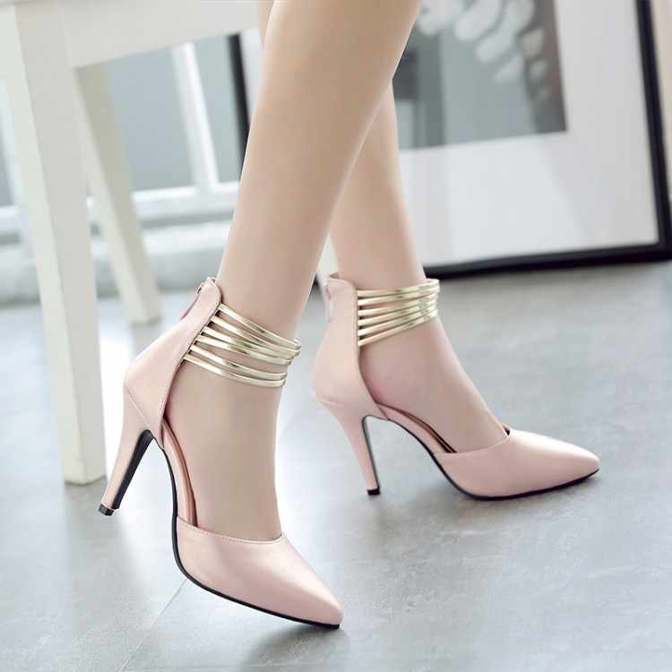 Grote Maat 11 12 13 hoge hakken sandalen vrouwen schoenen vrouw zomer dames Terug rits slippers met rits voor Baotou tas hak