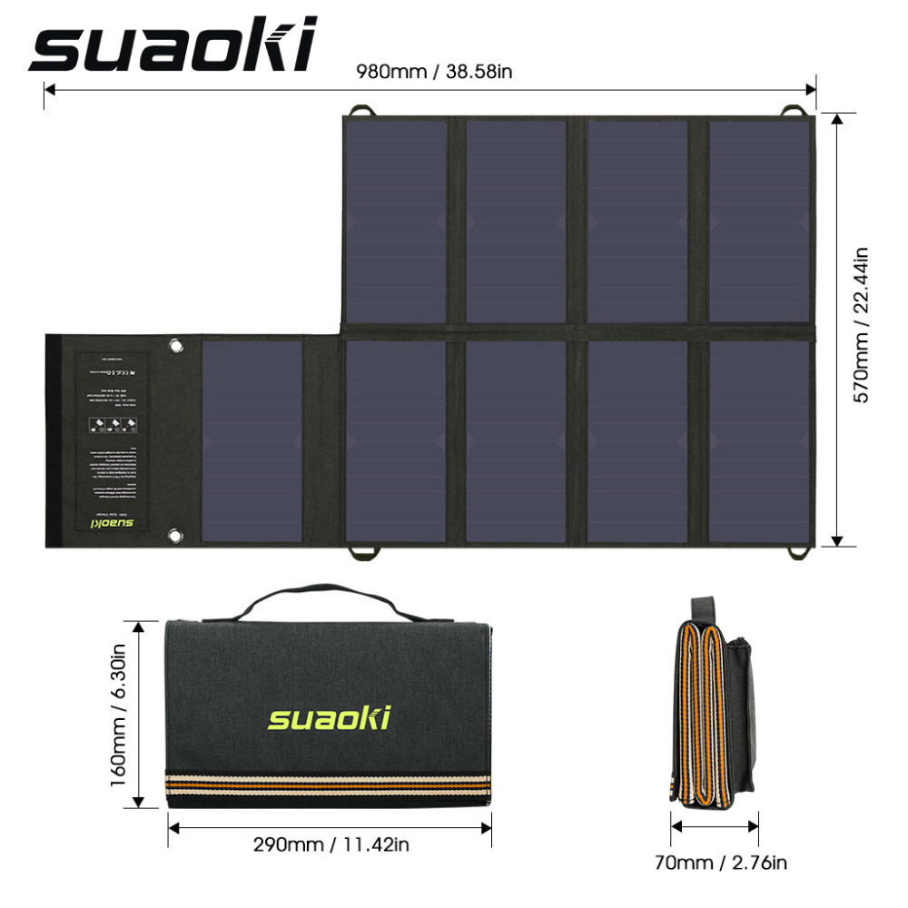 Suaoki Portable 60W Folding Foldable Solar Panel Charger Solar Mobile Power Bank for Phone Car Laptop
