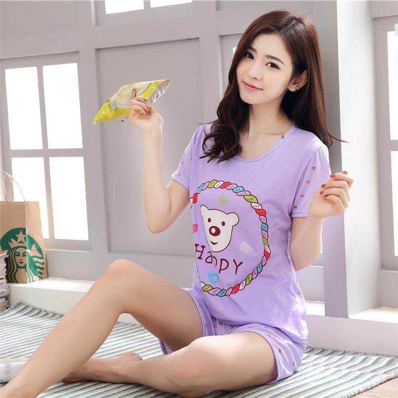 Wholesale   Pajamas     Sets   Fashion Cute Summer Thin Carton Generation Women Short Sleepwear Suit Home Women Gift Female Sleepwear
