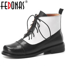 FEDONAS Women Autumn Winter Lace Up Genuine Leather Ankle Boots Mixed Colors Short Riding Boots Fashion Party Casual Shoes Woman