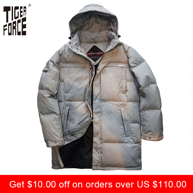 TIGER FORCE 2017 High Quality Men Fashion Long Down Jacket Winter Duck Down Coat With Hood Solid Zipper Free Shipping D-184L