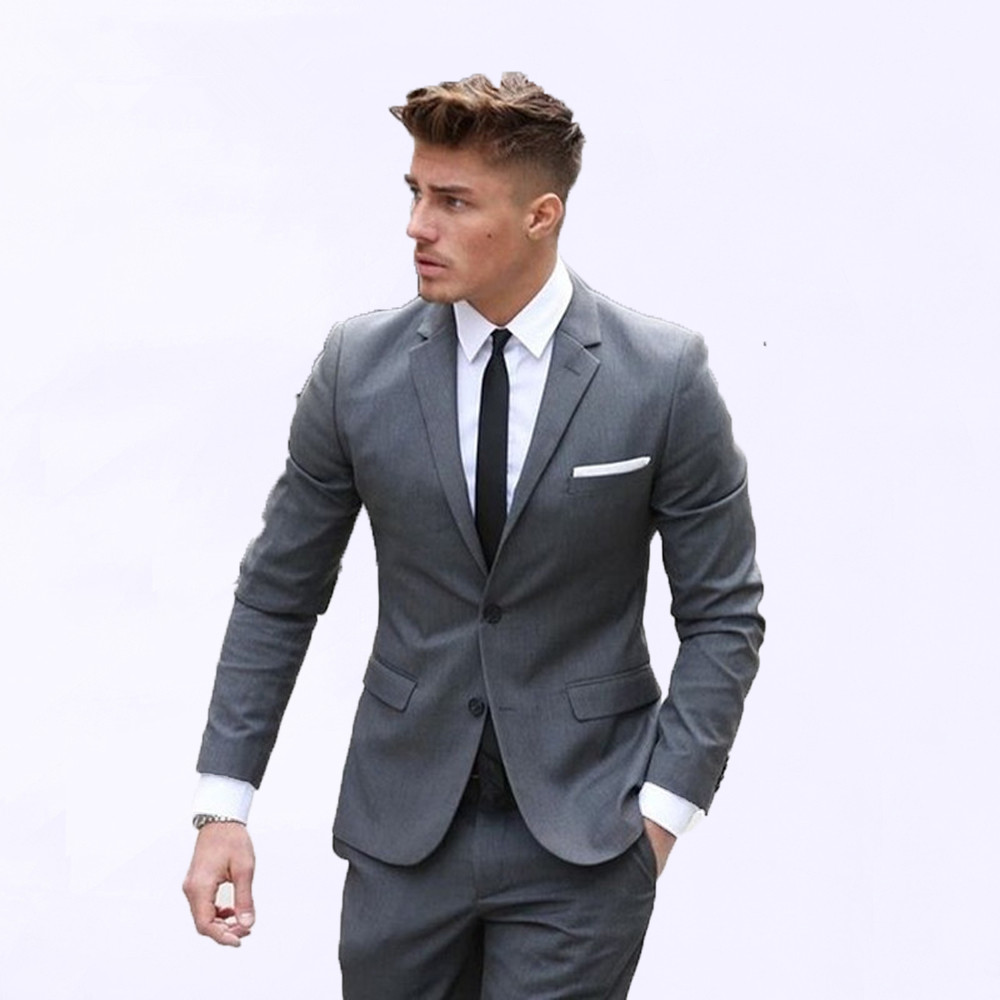 Grey Slim Fit Men Suits For Groom Prom Wedding Tuxedos With Notched Lapel 2 Piece Male Clothes Set Jacket With Pants