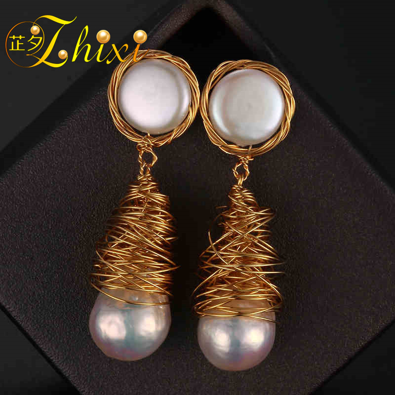[ZHIXI] Pearl Drop Earrings Fine Jewelry Long Baroque Pearl Earrings For Women 2018 Fashion Birthday Party Gift Big Bulb XE211 [zhixi] freshwater pearl earrings for women fine jewelry big pearl earrings gold drop irregular fashion gift for party eb224